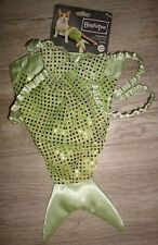Shimmering Green Mermaid Tail & Bra Fancy Dress Up Halloween Pet Cat Costume O/S