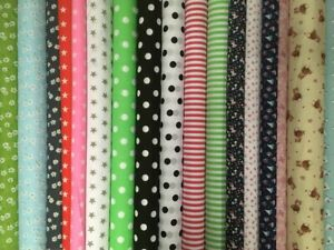 Poly Cotton Pattern Printed fabric 114cm width Daisy check stripe spot dot stars