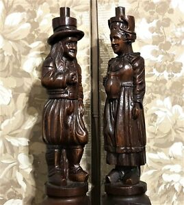 2 Solid britany couple wood carving column Antique french architectural salvage