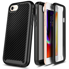 For iPhone SE 2020 Case, Full Body Carbon Fiber Cover +Built-In Screen Protector