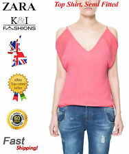 Zara Viscose Patternless Semi Fitted Tops & Shirts for Women