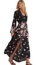 Billabong Desi Kimono Maxi Dress for Women - Black Floral, Size - L