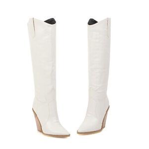 Women Western Pointed High Heel Biker Cowboy Goth Knee High Boots Big Size 34-48