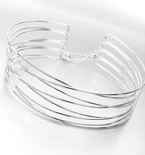 CHIC Urban Anthropologie Silver Metal Ribbed Wire Choker Necklace