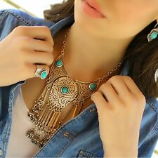 Turquoise Vintage Antique Silver Coin Boho Bohemian Statement Retro Necklace