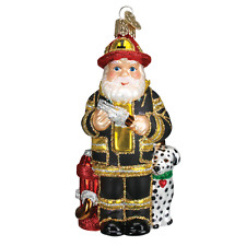 OLD WORLD CHRISTMAS SANTA IN BLACK FIREFIGHTER SUIT GLASS ORNAMENT 40109
