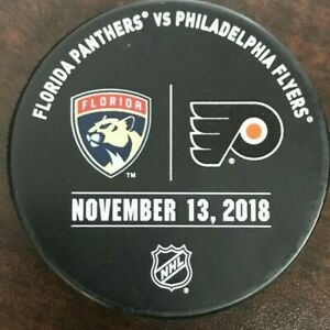 PHILADELPHIA FLYERS FLORIDA PANTHERS Official Warm-up Hockey Puck 11/13/2018 NHL