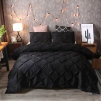 Pinched Pleat Down Alternative Comforter Set Queen King Size Bed Pillow Shams