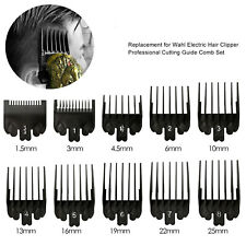 10 Hair Clipper Limit Comb Guide Trimmer Guard Attachment Set with Case for Wahl