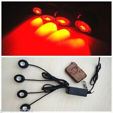 Waterproof 4in1 Red LED CREE Hawkeye Car Vehicles Fog Lights Strobe Flash Lamps