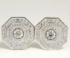 $19000 4.00CT BEAD SET ARCHITECTURAL OCTAGONAL STEP DIAMONDS CLIP EARRINGS 18KT