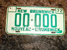 1972 NEW BRUNSWICK SAMPLE LICENSE PLATE 0000