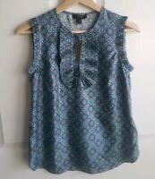 NWT J Crew Womens Sleeveless Blue Silk Foulard Margot Top Shirt Blouse Size 00
