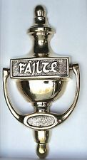 Irish Brass Plain Failte Doorknocker Traditional Style Great Gift For Any Home