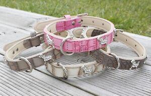 Dog Collar PU Leather Puppy Pink Pug XS Small Medium Bone Diamante Boy Girl