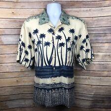 Burma Bibas Mens Shirt Medium Silk Aloha Palms Print Shortsleeve Buttonup Camp
