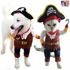 Funny Pet Cosplay Clothes Pirate Costume Dog Puppy Cat Suit w/ Hook Halloween