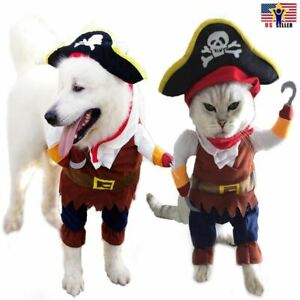 Funny Pet Cosplay Clothes Pirate Costume Dog Puppy Cat Suit w/ Hook Halloween US