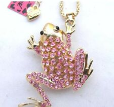 Betsey Johnson Necklace Pink Gold  Tree Frog Sparky Adorable