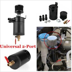 Black Universal Aluminum Car Oil Catch Can Reservoir Tank Breather Filter Kit