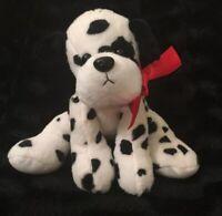 Animal Adventure Dalmatian Puppy Dog Black White Plush Stuffed Red Ribbon