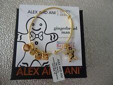 Alex and Ani GINGERBREAD MAN II Shiny Gold Finish Bangle New W/ Tag Card & Box