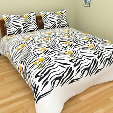 Black & White 200 TC Cotton Double Bed Sheet with 2 Pillow Covers Set C2