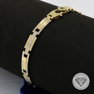 Wert 1.100,- Elegantes Unisex Armband 585 / 14 Karat Gold Bicolor 20,5 cm xxyy