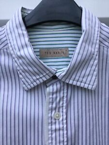 """TED BAKER WHITE SHIRT SIZE 4 16"""" COLLAR MAUVE & GREEN STRIPES LONG SLEEVES **"""