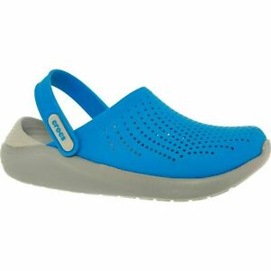 £50 CROCS Blue/Grey Perforated Comfy Cushion Relaxed Fit LiteRide Clogs UK 4