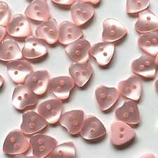 10 x 10mm tiny pink opalescent heart buttons with two holes