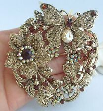 "3.54"" Animal Butterfly Brooch Pin Tea Yellow Austrian Crystal Pendant 04489C4"