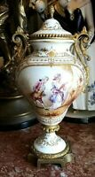 Antique Porcelain and Bronze Sevres Style Urn with Lid.