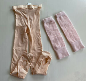 Girl's Set of Dance Tights And Leg Warmers Size 7/8 Pink