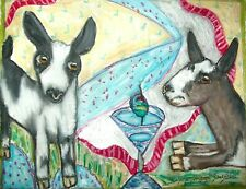 Mini Alpine Drinking a Martini Art Print 8x10 Goat Collectible Farm Countryside