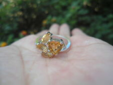 Natural CITRINE Birthstone & White CZ 925 STERLING SILVER RING S7.75