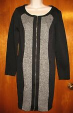 TRIBAL Size 4 Knee-Length ZIP-UP DRESS (black/gray w/ long sleeves) perfect