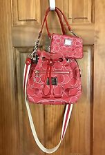 Coach Poppy Signature Ruby Canvas  Drawstring Shoulder Purse W/ Chg Purse 17930