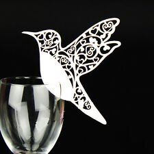 50Hummingbird Wedding Name Place Cards For Wine Glass Laser Cut Pearlescent