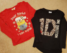 Girls long sleeved top x 2 age 7-8 years old Despicable Me and One Direction