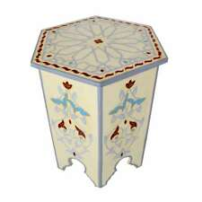 Flower Hand painted Moroccan Accent End Table Night Stand XL