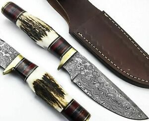 Custom Hand Forged Damascus Steel Hunting knife Brass Guard With Stag Handel
