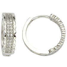 Hoop Earrings 17mm x 5mm Sterling Silver Micropave Cz Huggie