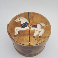 Vintage Tole Painted Carousel Horse Wooden Cheese Box Fabric Lined Sue Burns