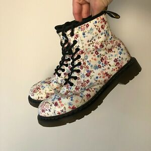 Dr. Martens Doc White Floral Delaney Leather Air Wair Women's Boots Size UK 2