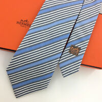 Hermes Tie Stripes Sky/Blue Gray Woven Recent Necktie Cotton/Silk Ties L4 NIB