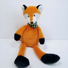 "Mary Meyer Plush Orange Fox Stuffed Animal Green Checkered Scarf 13"""
