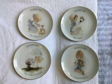"Precious Moments Lot 4 ""Blessed Are ."" Gold Rim Plates Enesco Stamped 1978"