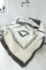 Luxury Warm Large White Throw King Size 200x200 cm Sofa Bed Blanker Handmade