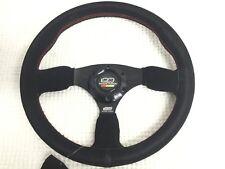 Universal Mugen JDM Style 350mm Suede Flat Dish Steering Wheel CIVIC TYPE R